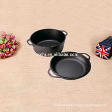 Cast iron fry pan and soup pot for camping and home kitchen