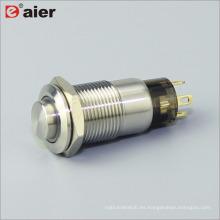 Anillo de botón de forma alta de 12 mm Led Interruptor de botón de metal iluminado 1NO