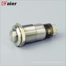 O anel do botão da forma alta de 12mm conduziu iluminado 1NO que trava o interruptor do botão do metal