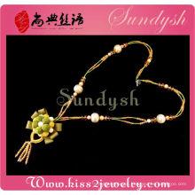 Elegante artesanal flor jóias cristal estação colar