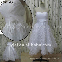 RSW45 Factory Outlet Lastest Beautiful Handmade Organza Flowers Big Bow Ribbon Sashes Real Excellent Custom Short Wedding Dress