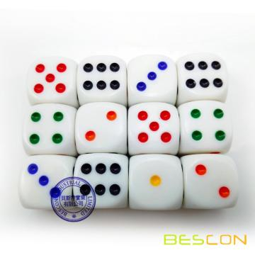 "Beautiful High Quality Round 19MM Dice 3/4"" with Colorful Rainbow Dots"