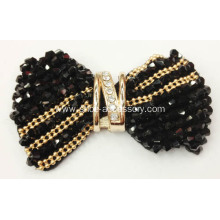2013 New Handmade Fabric Shoe Flower with Grade A Black Acrylic Beads Decoration