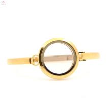 Wholesale 30mm 7''-8'' Plain Gold design stainless steel living glass lockets bangle bracelet for ladies