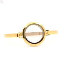 """Оптовая 30мм 7""""-8"""" простой дизайн золото нержавеющая сталь гостиной стекло медальоны браслет для дамы"""