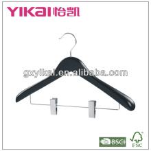 wide shoulder clothes hanger black color in matte finishing