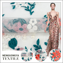 Best price of designer multicolor embroidery fabric flowers for wedding dresses