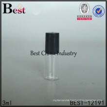 3ml roll on glass bottle with plastic roller and cap