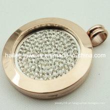 Grande rodada de ouro rosa flutuante colar pingente jóias