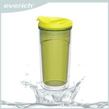 Tasse en plastique double paroi sans adhésif de 350 ml avec couvercle rabattable