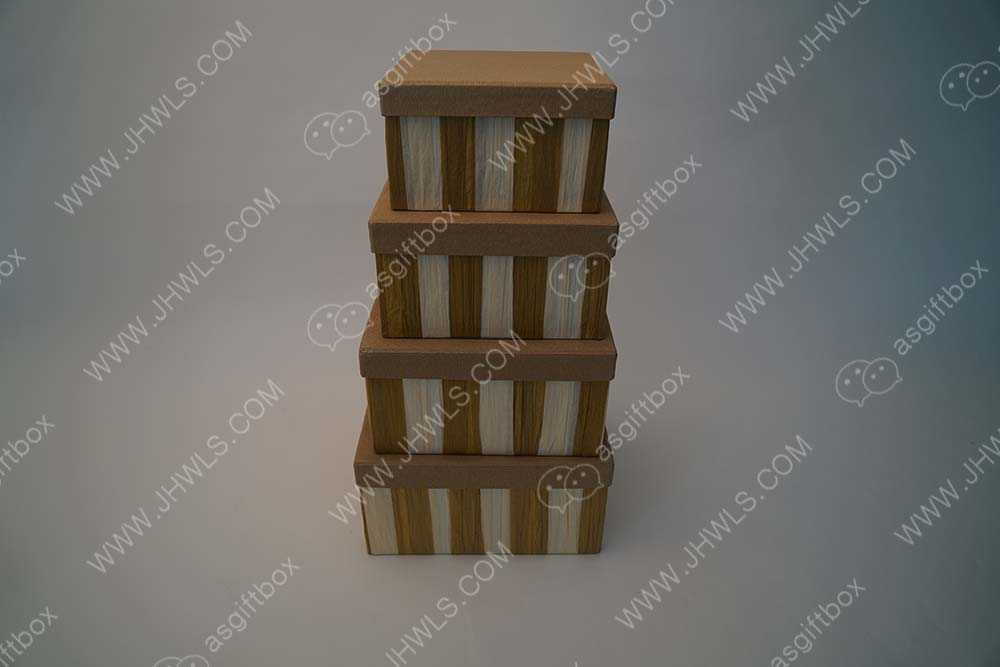 Brown and White Striped Gift Box