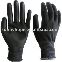 Schwarze PU-beschichtete Handschuhe mit 13G Nylon Liner