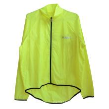 Néon impermeável amarelo poliéster alta visibilidade reflexivo segurança capa de chuva (yky2809)