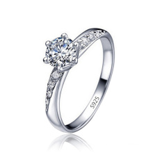 Custom Wish Hot Selling 925 Sterling Silver Plated 18K Ring Classic Six-claw Cold Inlaid Amazon Diamond Ring