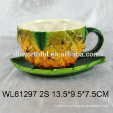 2016 abacaxi cerâmica xícara e pires