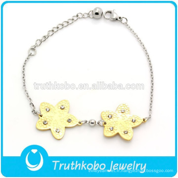 TKB-JB0005 Bel hexagramme mignon plein de bracelets de filles en acier inoxydable 316L cristal strass deux tons