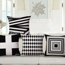Простой черный и белый Геометрическая хлопок и Лен подушки Наволочки