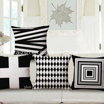 Simple Black and White Geometric Cotton and Linen Pillow Cushion Covers