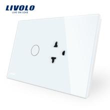 Livolo US Standard Socket Switch Switch avec panneau en verre de cristal blanc VL-C9C1EA-11