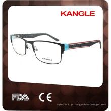 2017 óculos ópticos metálicos de moda para homens e moldura óptica de metal com acabamento acetato