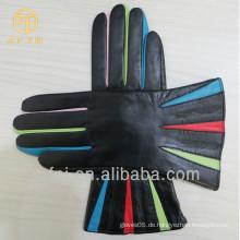 Frauen bunte Finger Schaffell Mode Leder Handschuhe