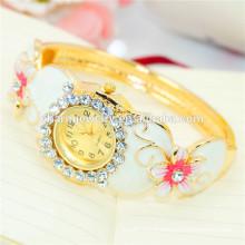 Дамы новые модные персонализированные роскошные Rhinestone Flower Bangle Watch B077