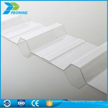 Feuilles en plastique transparent en polycarbonate ondulé léger
