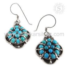 Espectacular joyería de la piedra preciosa de la turquesa 925 pendientes de la plata esterlina joyería de plata india