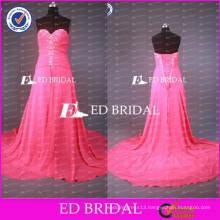 2017 ED Bridal Custom Made Real Sample Sweetheart Appliqued Chiffon Prom Dress With Long Train