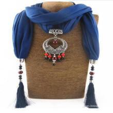 Women Rhinestone Pendant jeweled Shawl Scarf Necklace