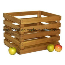 1/2 Peck Stained Wood Natural Crate