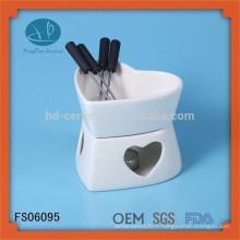 Mini ensemble d'outils / couteau / couteau de cuisine, fondue en céramique avec fourchettes
