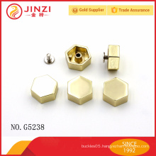 Hexagonal zinc alloy rivets and studs with good quality