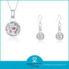 Moda brinco de prata e colar de jóias para a senhora (j-0167)