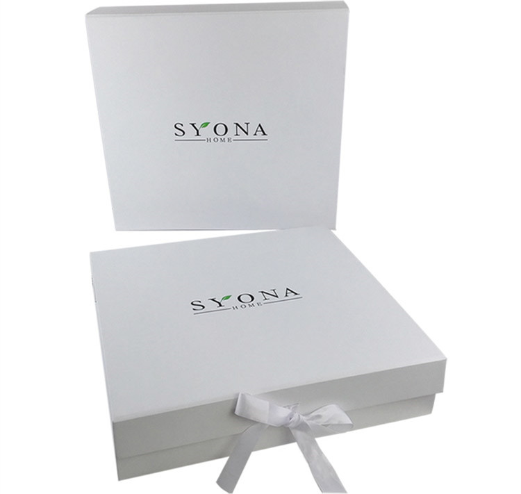 White Cardboard Ribbon Tie Decoration Gift Box