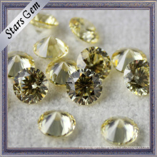 Aaaaa Quality Yellow Round 81 Facets Star Cut Cubic Zirconia