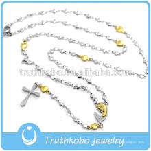 Ahueque hacia fuera el oro plateado del oro de las cadenas del corazón collar religioso con el patrón tribal grabado Virgen María Cruz colgante de la joyería