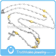 Hollow Out Vacuum Gold Plating Heart Chains Religious Necklace With Etched Tribal Pattern Virgin Mary Cross Pendant Jewelry