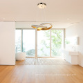 Simple hanging lamp decorative circle rings iron gold luxury modern led chandelier
