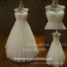 Nueva marfil de encaje de manga larga vestido de novia vestido de novia tamaño Pulz por encargo 2017
