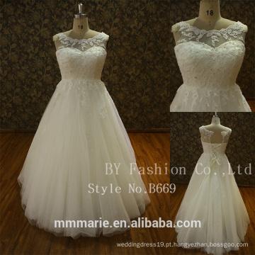 New Ivory Lace Mangas Longas Vestido de Noiva Vestido de noiva Pulz Tamanho Custom Made 2017