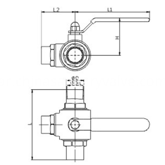 DIN Hygienic Three-Way Ball Valve Weld and Manual
