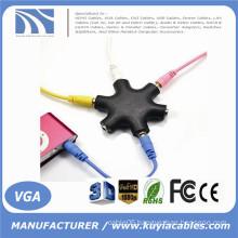 6 Way 6 Port 3.5MM Headphone Headset Splitter HUB & Cable Stereo Free Post