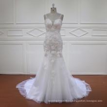 HD011 el último vestido de boda sin mangas del cordón de la sirena del diseño 2017