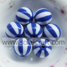 Blue & White Striped 20MM 500Pcs Brilliant Chinese Multi Colors Round  Alibaba Miyuki Resin Plastic Bead Wholesale Onsale