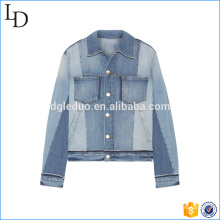 Contrast color light blue denim jacket cheap fashion jacket