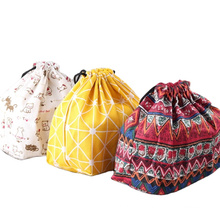 Customizable Japanese Style Portable Environment-friendly Picnic Bag Takeaway Meal Bag  Rope Bag