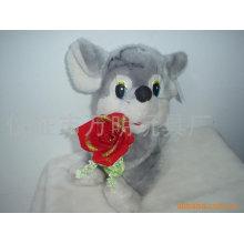 Oso de la tarjeta del día de San Valentín con la flor