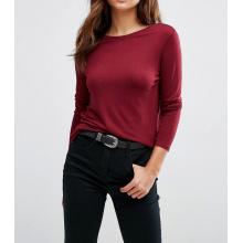 Fashion Custom Lady Scoop V Back with Long Sleeve Tshirt
