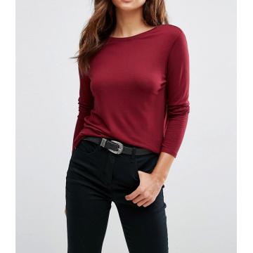 Arbeiten Sie kundenspezifische Dame Scoop V zurück mit langem Hülsen-T-Shirt um